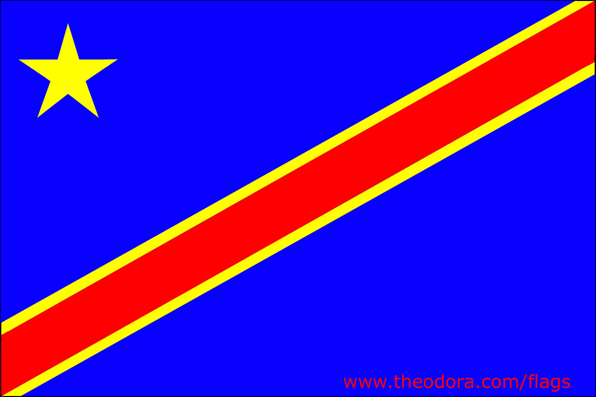 Flag of Congo Democratic Republic Republique Democratique du Congo, drapeau